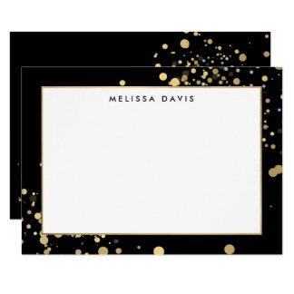 Faux Gold Confetti on Black Flat Notecard