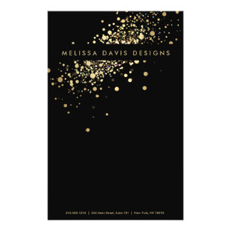 Faux Gold Confetti on Black Flyer