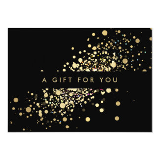 Faux Gold Confetti on Black Gift Certificate Card