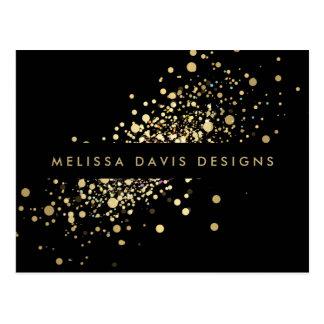 Faux Gold Confetti on Black Modern Postcard