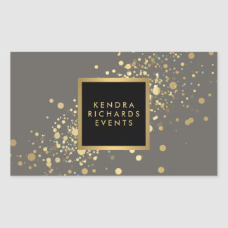 Faux Gold Confetti on Modern Gray Stickers