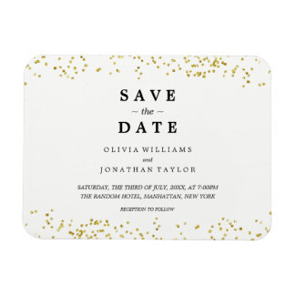 Faux Gold Confetti | Save The Date Magnet