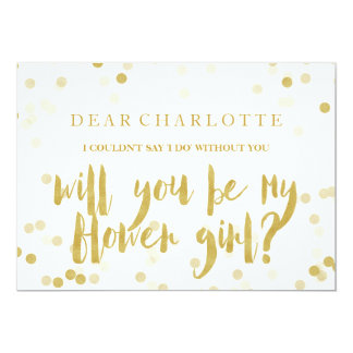 Faux Gold Confetti Will You Be My Flower Girl Card