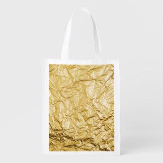 Faux Gold Crumpled Metallic Foil Effect Reusable Grocery Bag