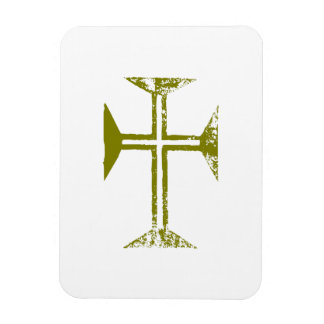 Faux Gold Destroyed Look Cross Rectangle Magnet