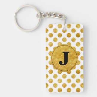 Faux gold dots pattern Double-Sided rectangular acrylic key ring