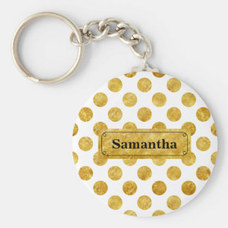 Faux gold dots pattern basic round button key ring