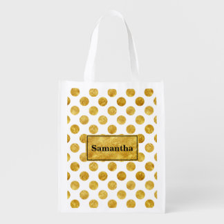 Faux gold dots pattern reusable grocery bag