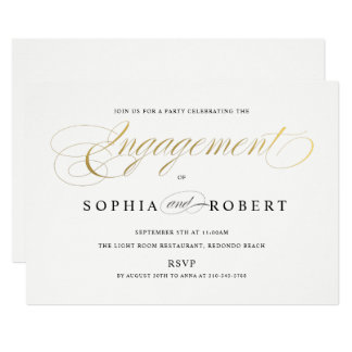Faux Gold Elegant Calligraphy Engagement Monogram Card