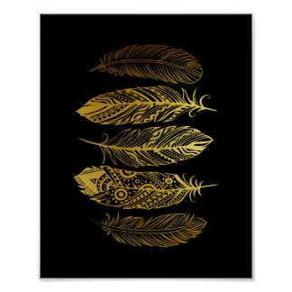 Faux Gold Feather Tribal Print Poster