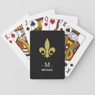 Faux Gold Fleur de Lis Monogram on Black Poker Deck