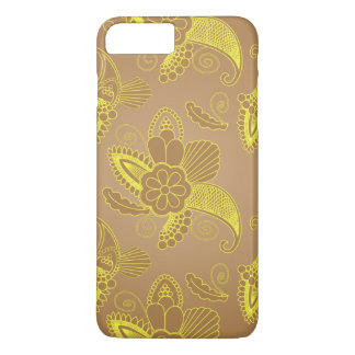 Faux Gold Floral Paisley on brown | Indian motif iPhone 7 Plus Case