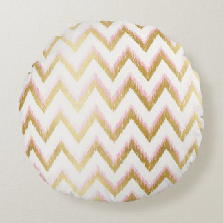 Faux Gold Foil and Pink Ikat Chevron Pattern Round Cushion