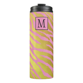 Faux Gold Foil and Pink Tiger Print Monogrammed Thermal Tumbler