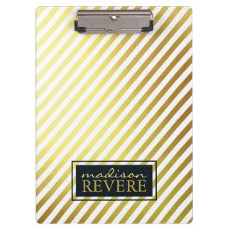 Faux Gold Foil and White Diagonal Stripes Clipboard