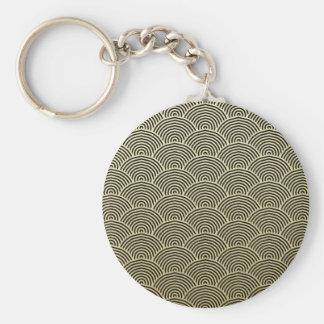 Faux Gold Foil Black Circle Fan Pattern Basic Round Button Key Ring