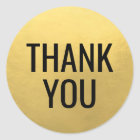 Faux GOLD FOIL Black Script Calligraphy Thank You Classic Round Sticker