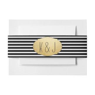 Faux Gold Foil Black Stripes Wedding Monogram Invitation Belly Band