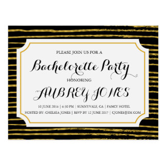 Faux Gold Foil Bling Bachelorette Party Postcard