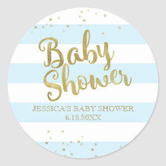Faux Gold Foil Blue Stripes Baby Shower Boy Favor Round Sticker