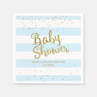 Faux Gold Foil, Blue Stripes Baby Shower Boy Paper Napkin