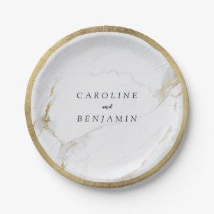 Faux gold foil border marble luxury modern wedding paper plate  sc 1 st  Zazzle & Marble Plates | Zazzle.com.au