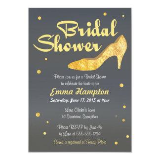 Faux Gold Foil Bridal Shower fancy wedding shoe Card