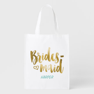 Faux Gold Foil Bridesmaid Fabric Gift Bag