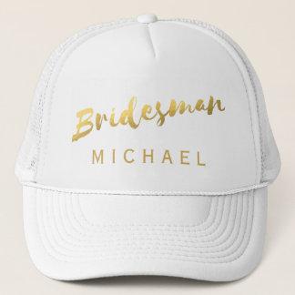 Faux Gold Foil Bridesman White Wedding Trucker Hat