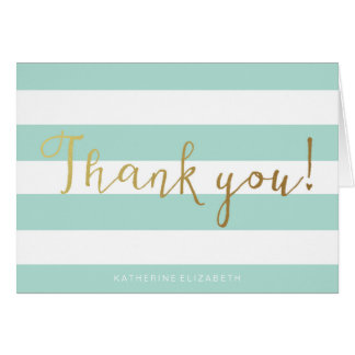 Faux Gold Foil Calligraphy   Teal & White Stripes Card