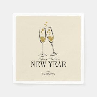 Faux Gold Foil Cheers New Year's Paper Napkins