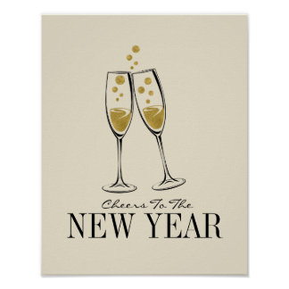 Faux Gold Foil Cheers New Year's Poster Sign