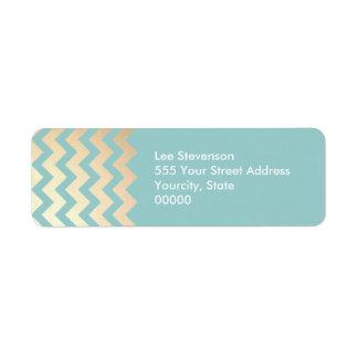 FAUX Gold Foil Chevron Pattern and Turquoise Blue Return Address Label