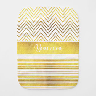 Faux Gold Foil Chevrons and Stripes Burp Cloth