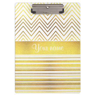 Faux Gold Foil Chevrons and Stripes Clipboard