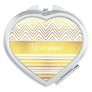 Faux Gold Foil Chevrons and Stripes Compact Mirror