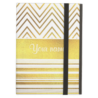 Faux Gold Foil Chevrons and Stripes iPad Air Cover