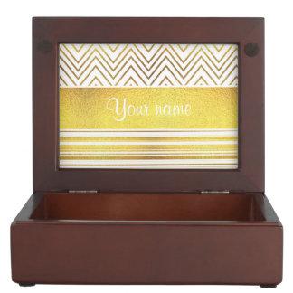 Faux Gold Foil Chevrons and Stripes Memory Box