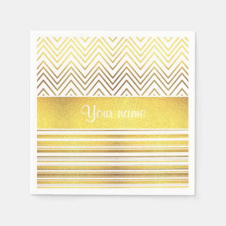 Faux Gold Foil Chevrons and Stripes Paper Napkin