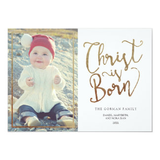 Faux Gold Foil Christ Is Born | 2015 Holiday 13 Cm X 18 Cm Invitation Card