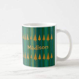 Faux Gold Foil Christmas Trees w/ Green Stripes Coffee Mug