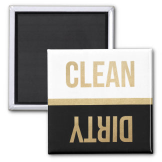 Faux Gold Foil Clean Dirty Dishwasher Square Magnet