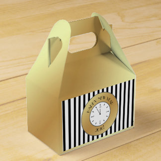 Faux Gold Foil Clock Midnight Happy New Year Favour Box