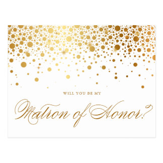 Faux Gold Foil Confetti | Be My Matron of Honor Postcard
