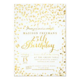 Faux Gold Foil Confetti Birthday Party 13 Cm X 18 Cm Invitation Card