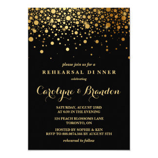 Faux Gold Foil Confetti   Black Rehearsal Dinner 13 Cm X 18 Cm Invitation Card