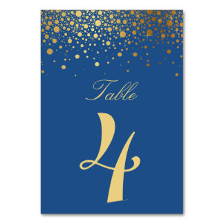 Faux Gold Foil Confetti Blue Table Numbers Bard Table Cards