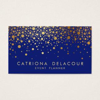 Faux Gold Foil Confetti Business Card | Blue