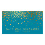 Faux Gold Foil Confetti Business Card | Teal II