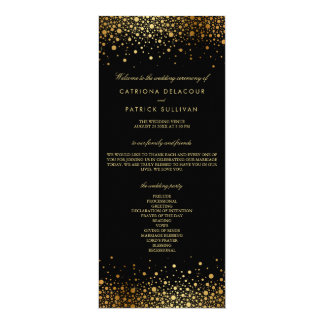 Faux Gold Foil Confetti Dots Black Wedding Program